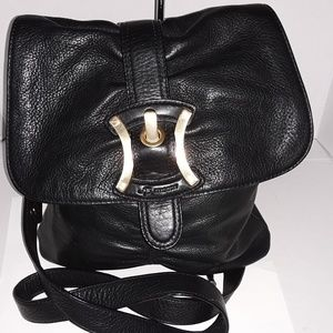 Pristine black leather b. Makowsky crossbody